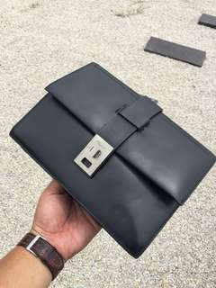 SALVATORE FERRAGAMO Black Leather Exclusive Multipocket Clutch Bag