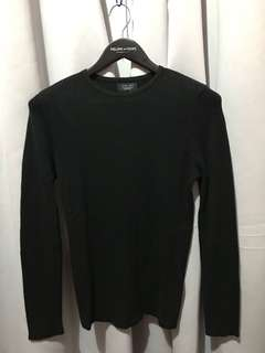 Zara Man Black Knitted-design stretchy Long Sleeves Shirt