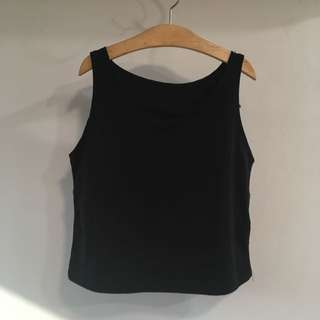 Black Halter Crop Tank Top Shirt Blouse Muscle Tee Tshirt Singlet