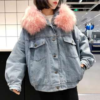 Brand New Demin Jacket with Pink Fur