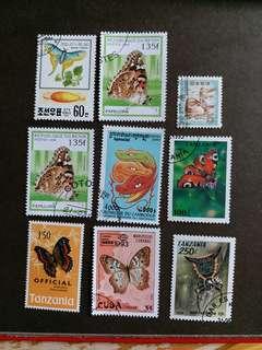 9 個已銷郵票 A002