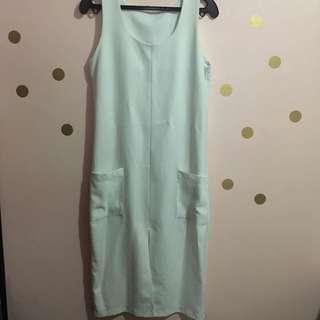 White Sleeveless Dress with Slit