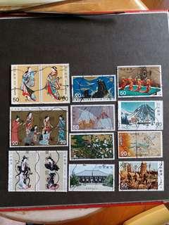 日本 14 個已銷郵票