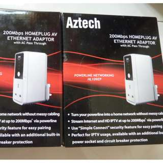 Aztech Homeplug AV Ethernet Adapter (1-pair)