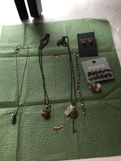Necklaces bracelet earrings and ring