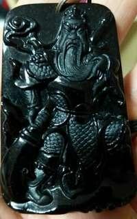 Black Jadeite Jade Guan Yu Pendant