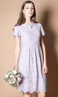 Lilac Lace Midi Dress