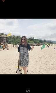 🚚 (全新)黑白格子細肩帶連身裙/連衣裙/蛋糕裙/娃娃裙