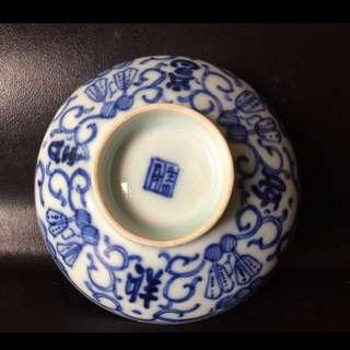 聽雨樓:#QQH-0088:【清】清代青花纏枝吉祥如意紋蓋碗蓋(瑕疵)