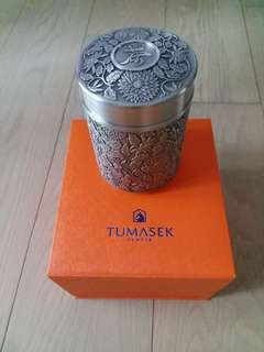 TUMASEK PEWTER TEA CADDY (CHRYSANTHEMUMS)!