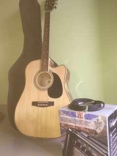 Gitar Akustik CORT AD880CE NAT Ampli Laney