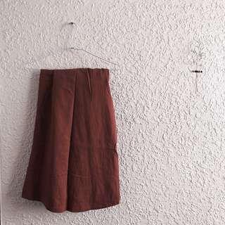 日系磚紅色長裙