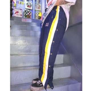 「深藍色 排扣 復古 90s 風褲 長褲 運動褲 古著 @一中 舊到過去 腰: 32inch 長: 102cm」