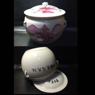 聽雨樓:#MYZ-0005:【民國】民國胭脂紅山水小粥罐