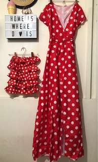 Red Polka Dots Mommy and Baby Twinning Dress