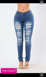 Tattered jeans 💰480  Size 28-36 Stretch  *cs