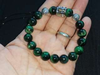 10mm Green Tigereye Bracelet with a Pair of S925 Money Ball and Stainless Steel Abacus Charm