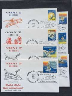 US 1981 Farmpex '81 Honoring US Space Achievements 7x Event Covers stamps