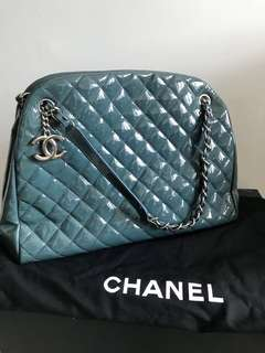 Chanel shopping bag 絕版藍綠色漆皮奶粉袋/側揹袋