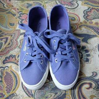 Superga 2790 Linea Up and Down Flatform Trainers in Blue Velvet