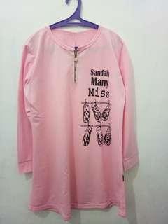 Kaos Lengan Panjang Pink