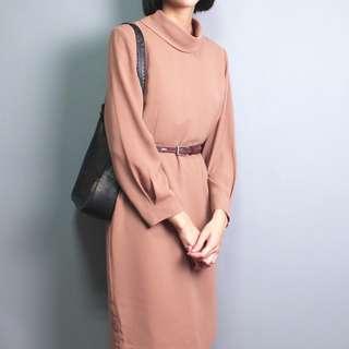古著 50's極簡裸橘色高領洋裝