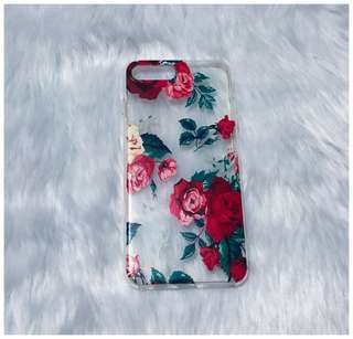 Slightly used iPhone 7+/8+ Red Floral Transparent Case for