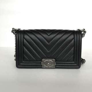 Authentic Chanel Boy Medium Black Caviar