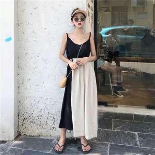 韓版氣質型格綁帶吊帶長裙