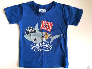 PRELOVED SEA WORLD Kids Pirate Shark Blue T-shirt - in average condition