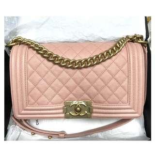 Authentic Chanel Boy Medium Pink Ghw