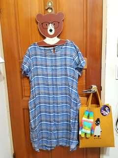 日系麻料格子洋裝