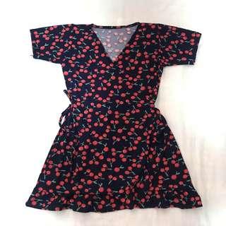 Cherry wrap around dress
