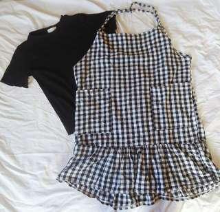 SET (black lettuce top and gingham ruffle dress)