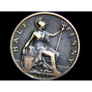 1902年大英帝國不列顛尼亞女神坐像1/2便士(Penny)銅幣(英皇愛德華七世像)