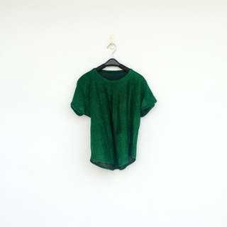 二手 綠色 閃亮 彈性 上衣 短T 明太子 708
