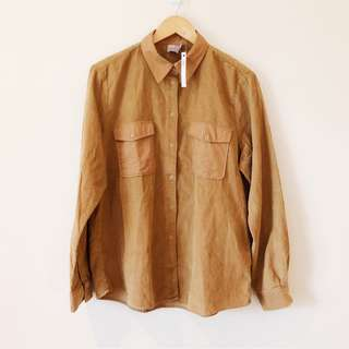 Brand New ASOS Corduroy Button Down Shirt in Tan