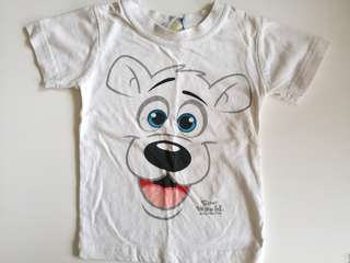 PRELOVED SEA WORLD Kids Cartoon Bear Face White T-shirt - in average condition