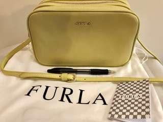 Furla Lilli yellow leather double zip crossbody