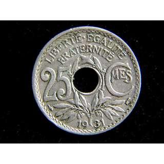 1931年法蘭西共和國(France)和平橄欖枝自由帽徽25仙圓孔鎳幣