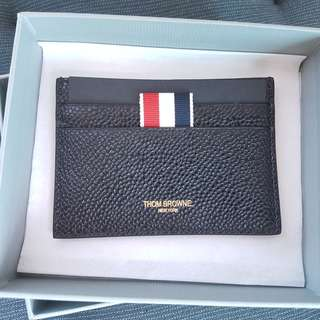 Authentic THOM BROWNE Single card holder in pebble grain BLACK