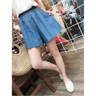 牛仔丹寧短褲(白、淺藍、深藍三色)腰鬆緊可穿至XL