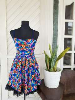 Imported Blue Floral Dress with Tulle