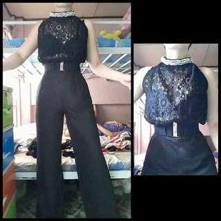 Black lace halter jumpsuit
