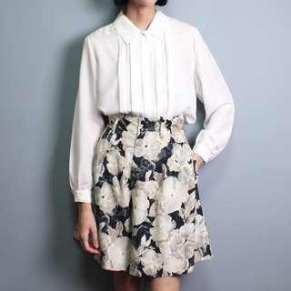 古著 復古高腰水墨感花卉褲裙