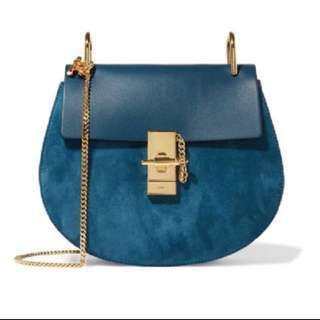 Chloe Small Drew Crossbody Bag in Blue Suede 斜孭袋