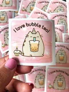 "🚚 💖SPECIAL💖Pusheen ""I love bubble tea"" Scrapbook / Planner Stickers #171"