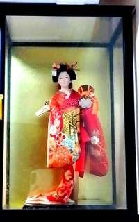 Japanese Kimono Doll in Glass Case