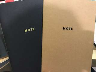 Black and brown notebooks (3 brown, 3 black)