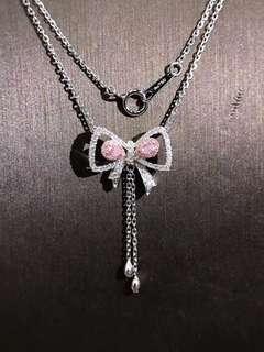 粉紅鑽石蝴蝶結18k白金頸鏈🎀特別夢幻設計🎁全新女朋友生日禮物推薦